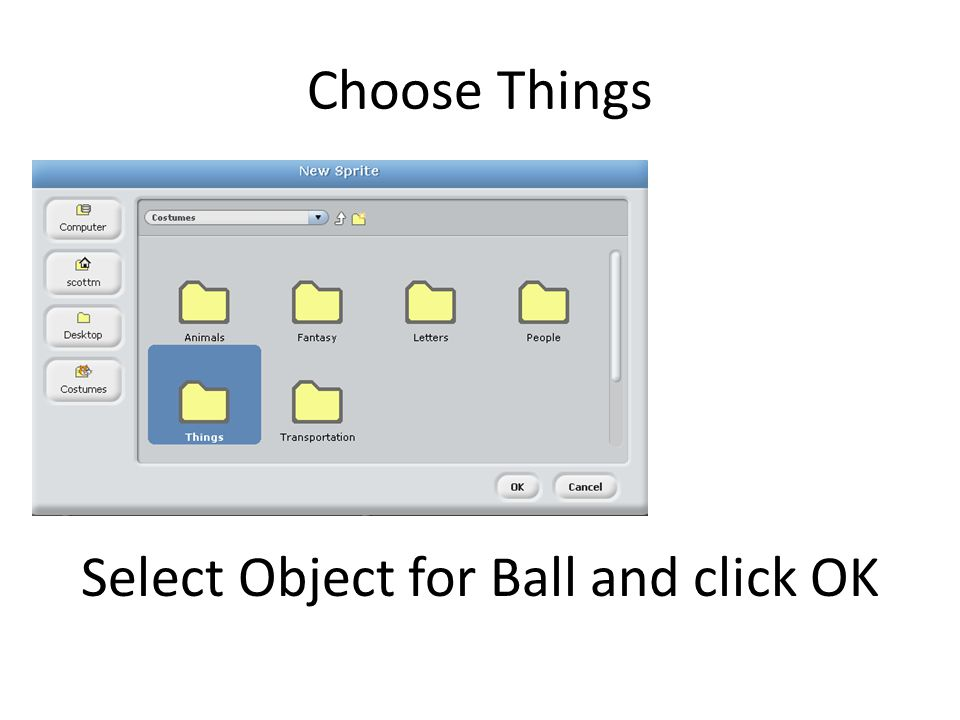 Select Object for Ball and click OK