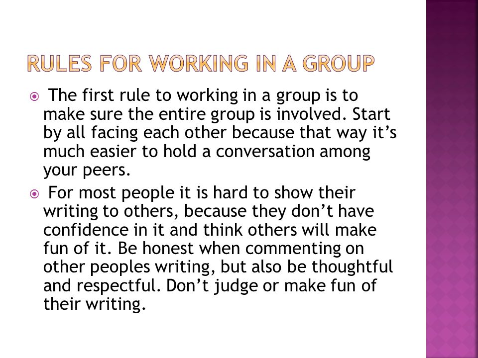 Rules for working in a group