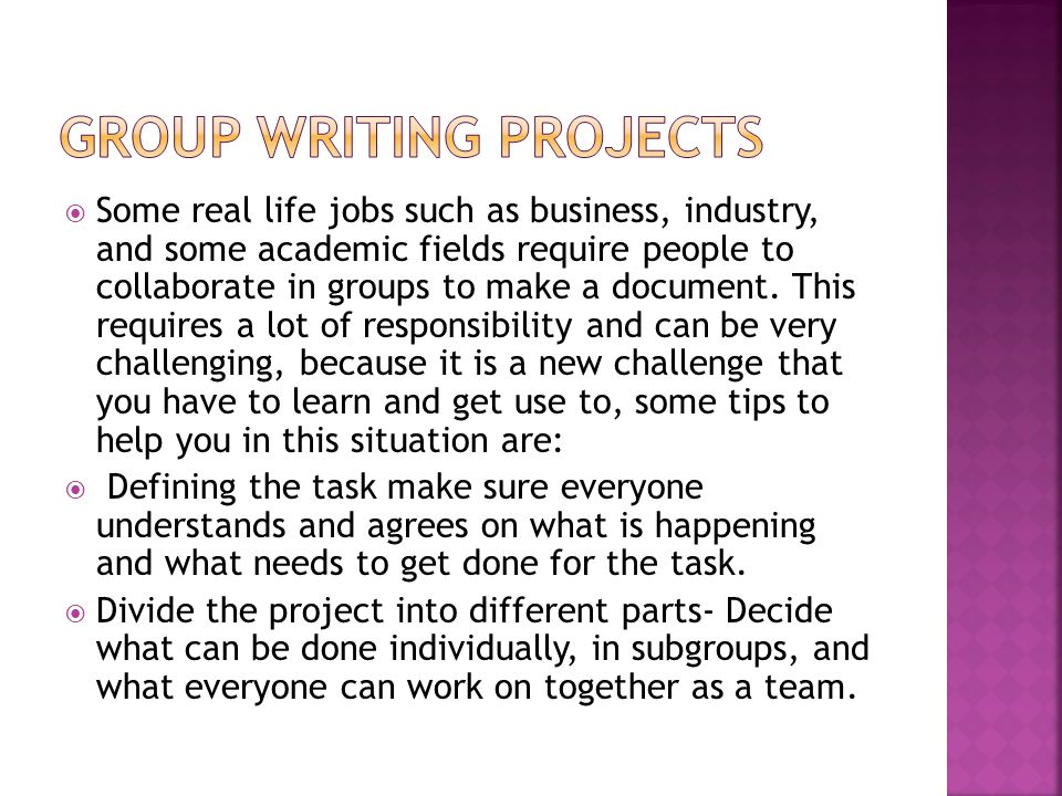 Group Writing Projects