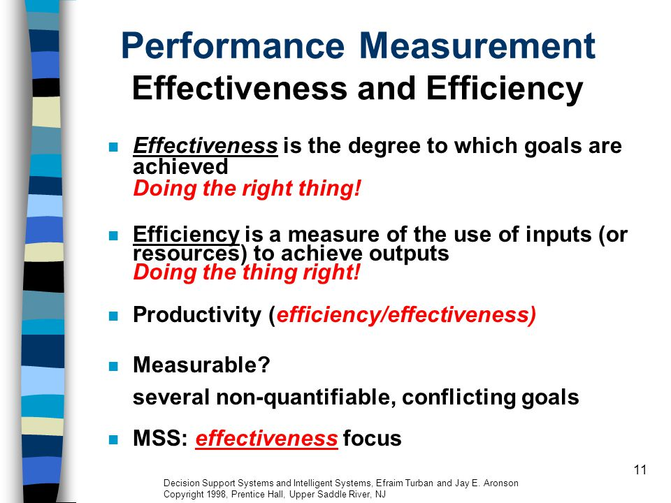 Performance Measurement Effectiveness and Efficiency