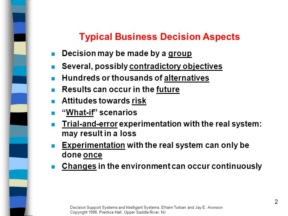 Typical Business Decision Aspects