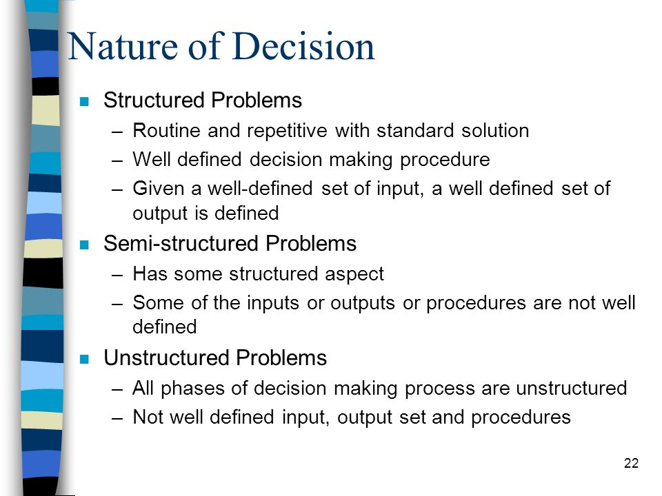Nature of Decision Structured Problems Semi-structured Problems