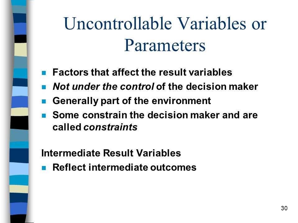 Uncontrollable Variables or Parameters