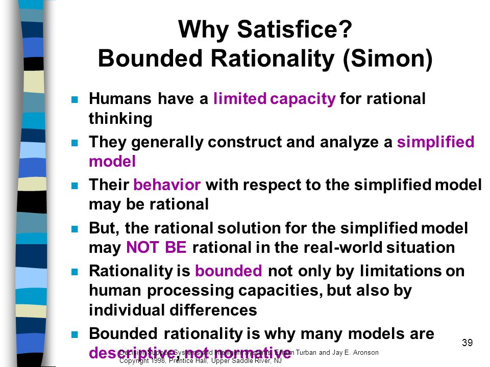 Why Satisfice Bounded Rationality (Simon)