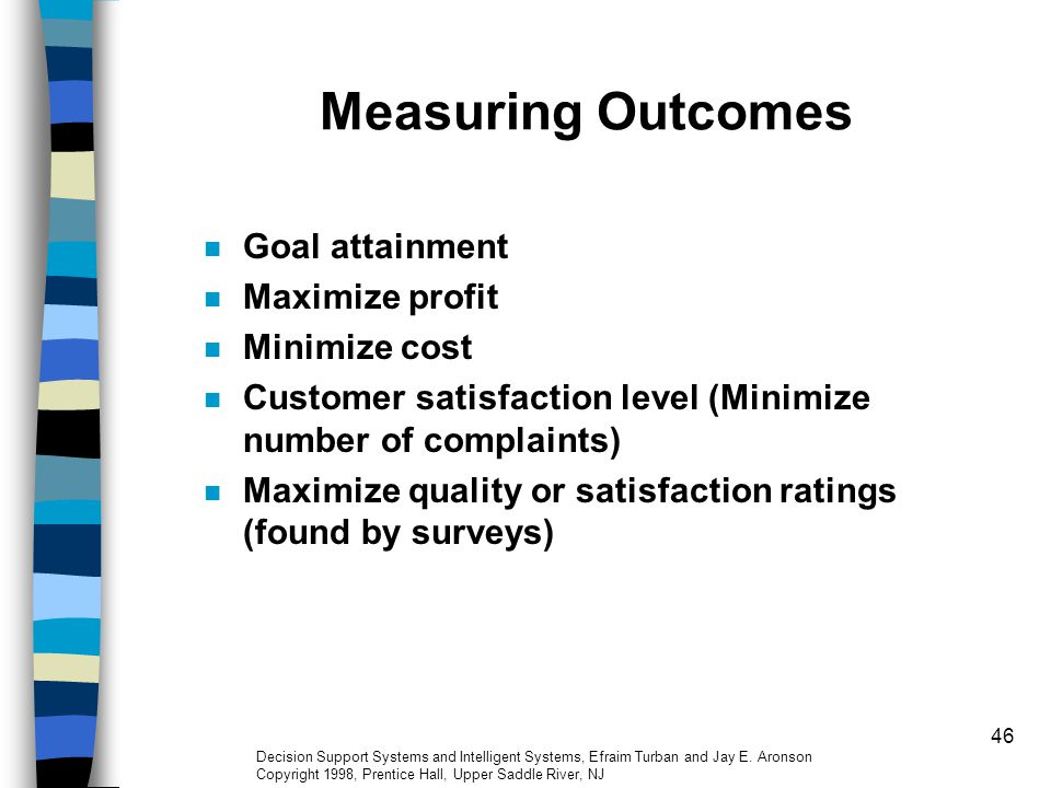 Measuring Outcomes Goal attainment Maximize profit Minimize cost