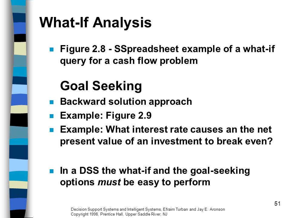 What-If Analysis Figure 2.8 - SSpreadsheet example of a what-if query for a cash flow problem Goal Seeking.