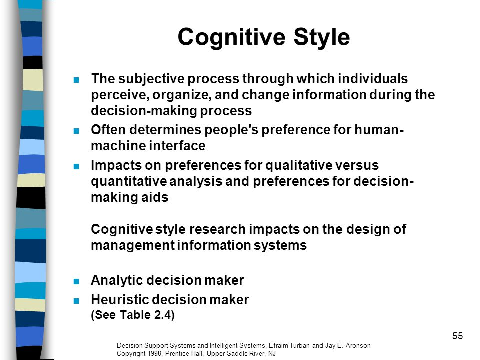 Cognitive Style The subjective process through which individuals perceive, organize, and change information during the decision-making process.