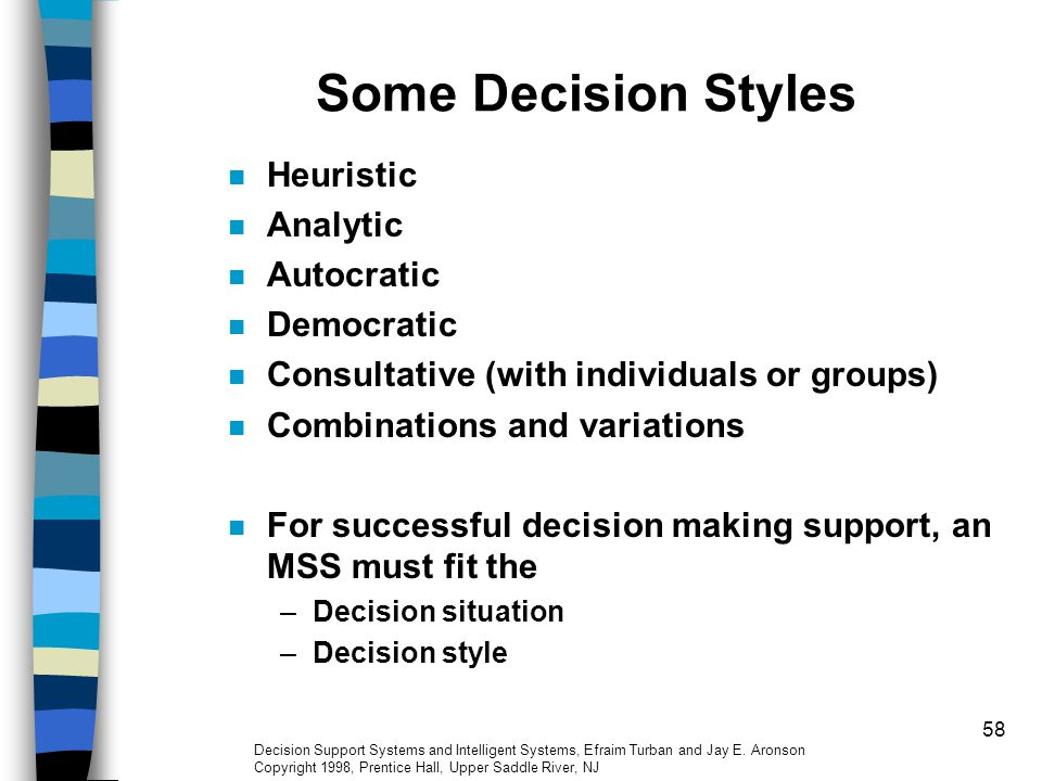 Some Decision Styles Heuristic Analytic Autocratic Democratic