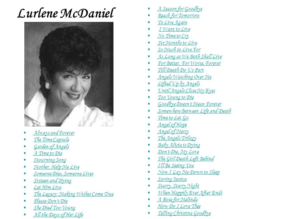 Lurlene McDaniel A Season for Goodbye Reach for Tomorrow To Live Again
