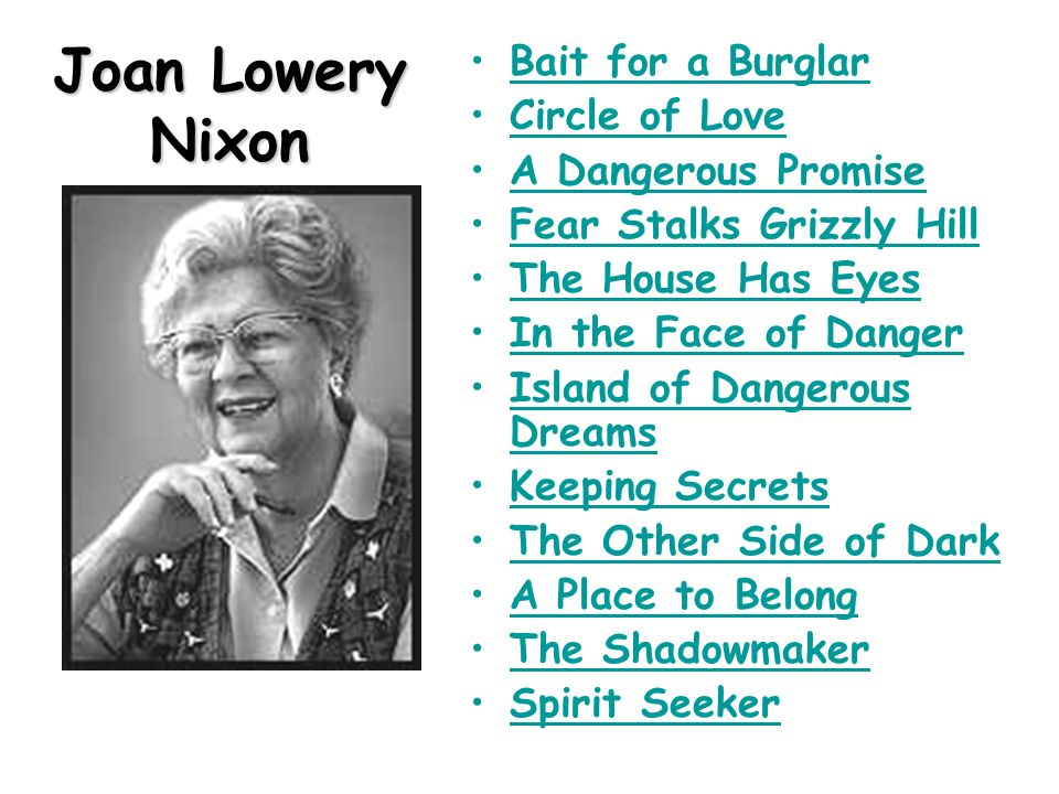 an analysis of a place to belong by joan lowery nixon Discover joan lowery nixon biography, work and moreunwrap a complete list of books by joan lowery nixon and find books available for swap  a place to belong → paperback, hardcover sabotage on the set.