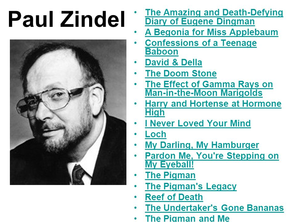 Paul Zindel The Amazing and Death-Defying Diary of Eugene Dingman