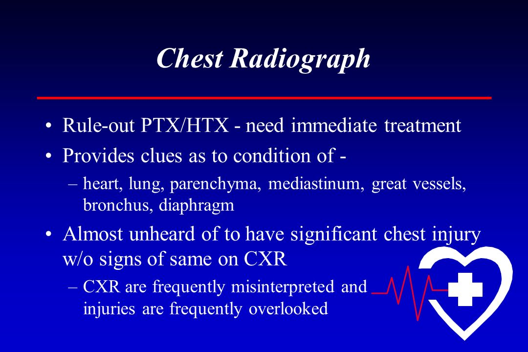 Chest Radiograph Rule-out PTX/HTX - need immediate treatment