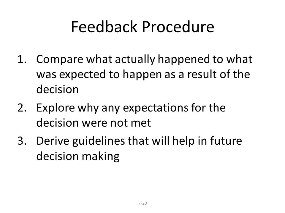 Feedback Procedure Compare what actually happened to what was expected to happen as a result of the decision.
