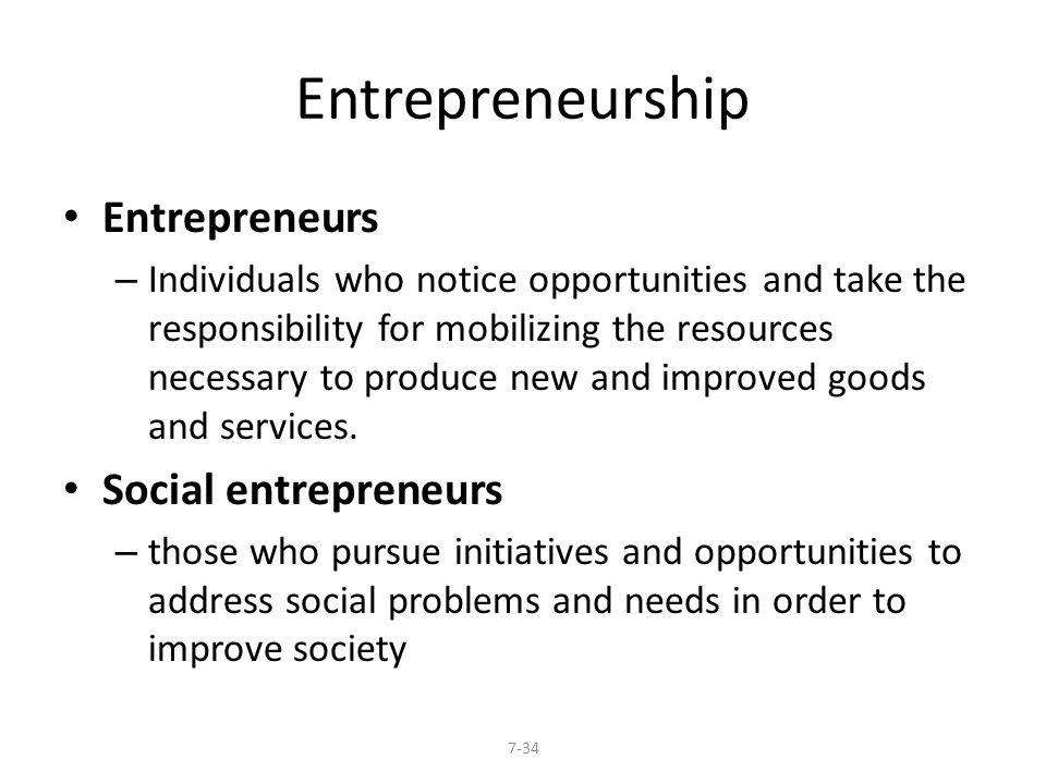 Entrepreneurship Entrepreneurs Social entrepreneurs