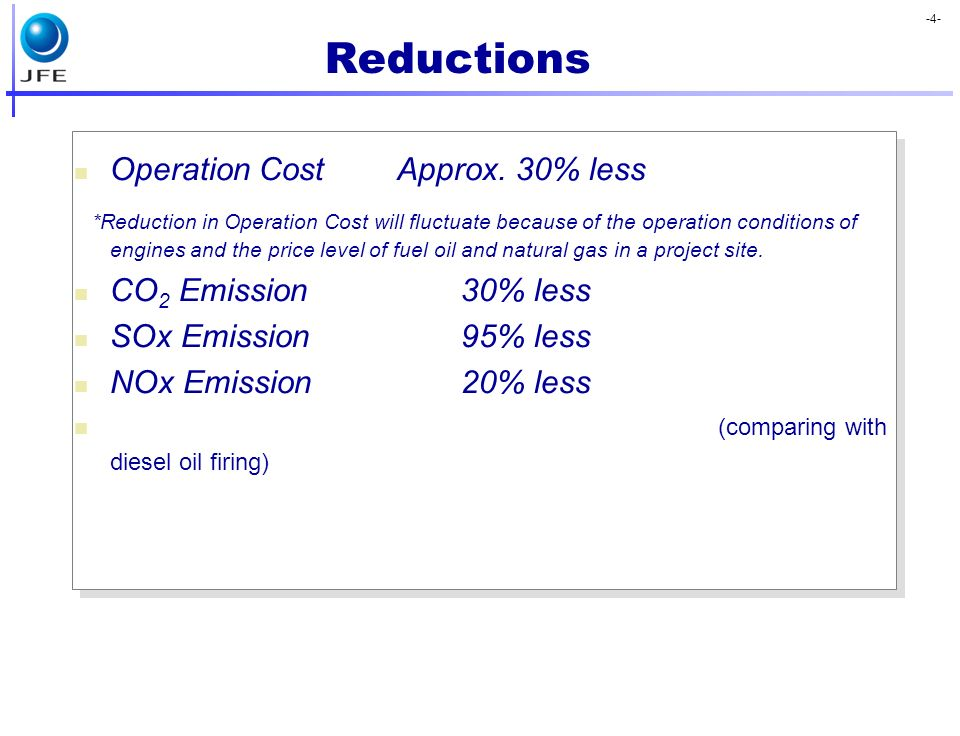 Reductions Operation Cost Approx. 30% less