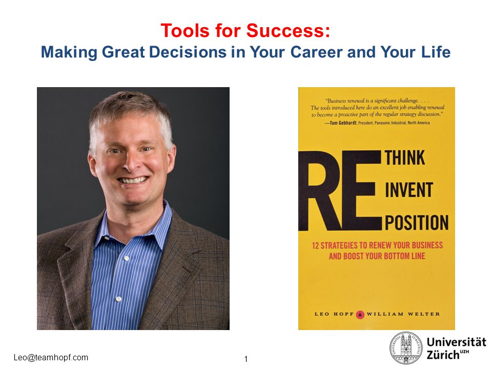 Tools for Success: Making Great Decisions in Your Career and Your Life