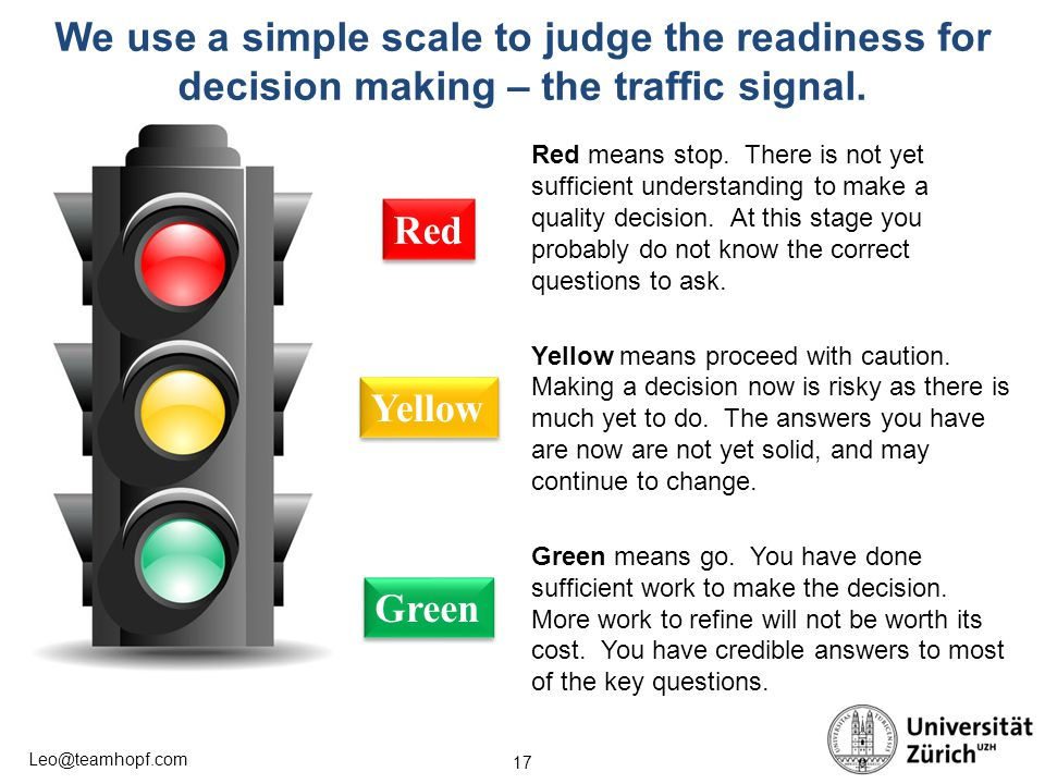 We use a simple scale to judge the readiness for decision making – the traffic signal.