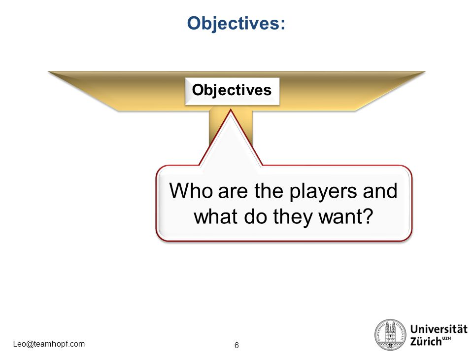 Who are the players and what do they want