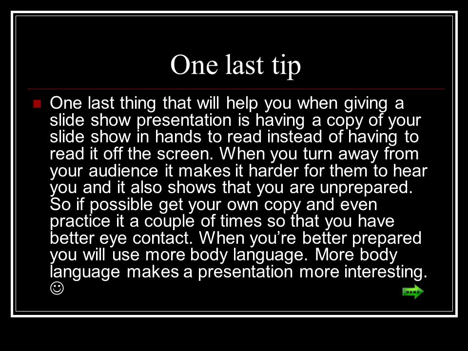 One last tip