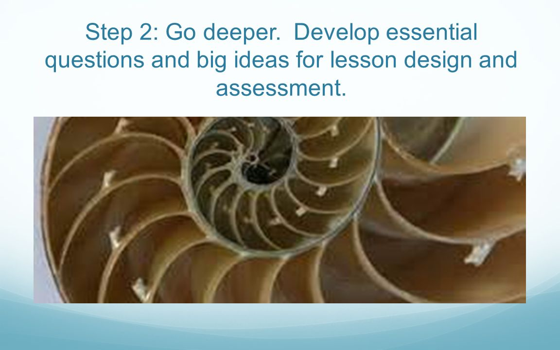 Step 2: Go deeper. Develop essential questions and big ideas for lesson design and assessment.