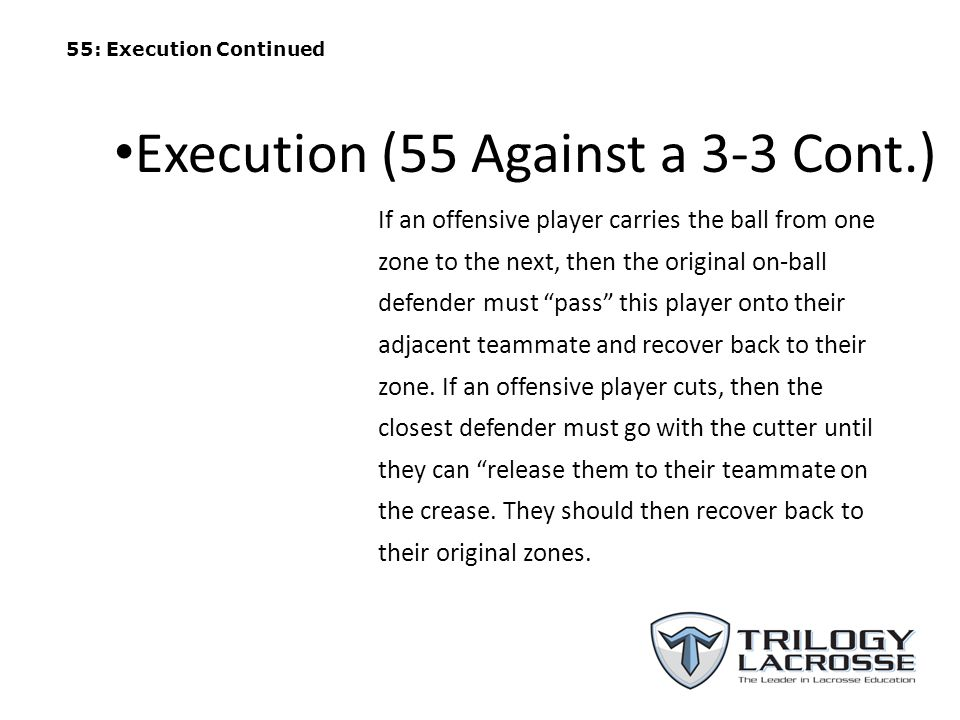 Execution (55 Against a 3-3 Cont.)