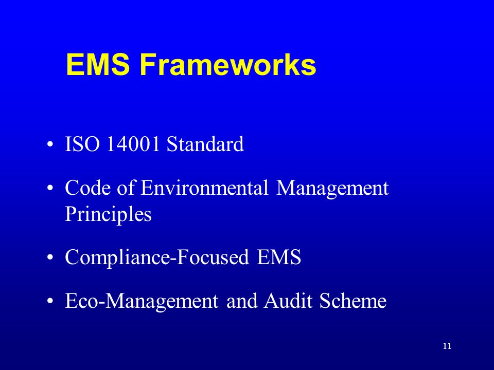 EMS Frameworks ISO 14001 Standard