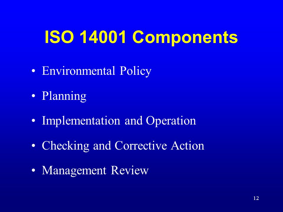 ISO 14001 Components Environmental Policy Planning
