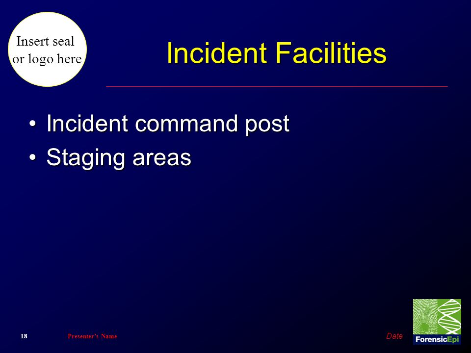 Incident Facilities Incident command post Staging areas Date