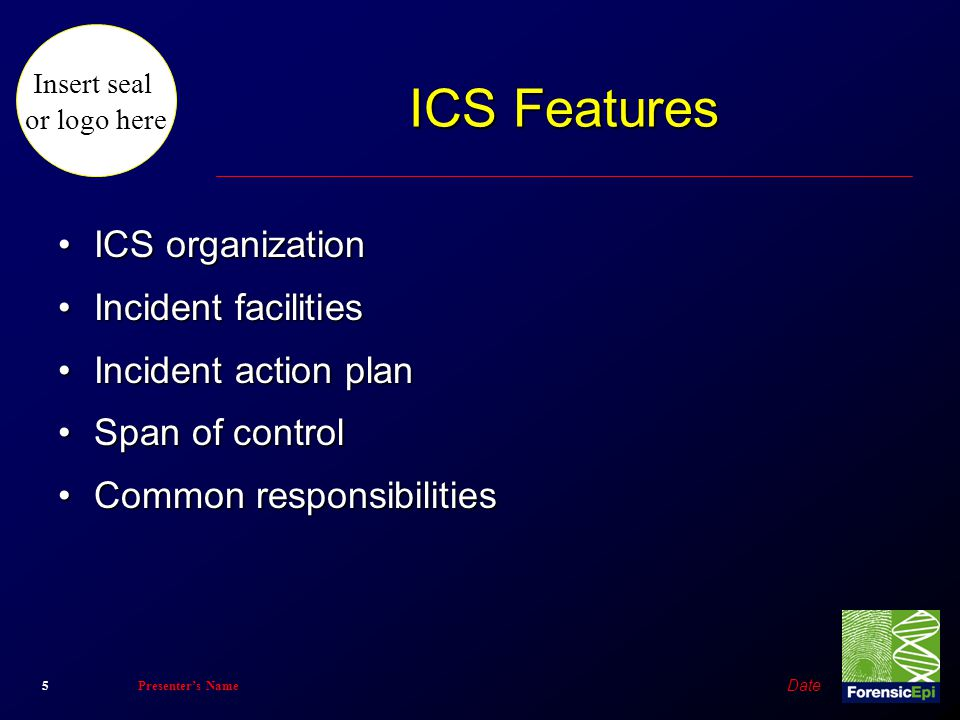 ICS Features ICS organization Incident facilities Incident action plan