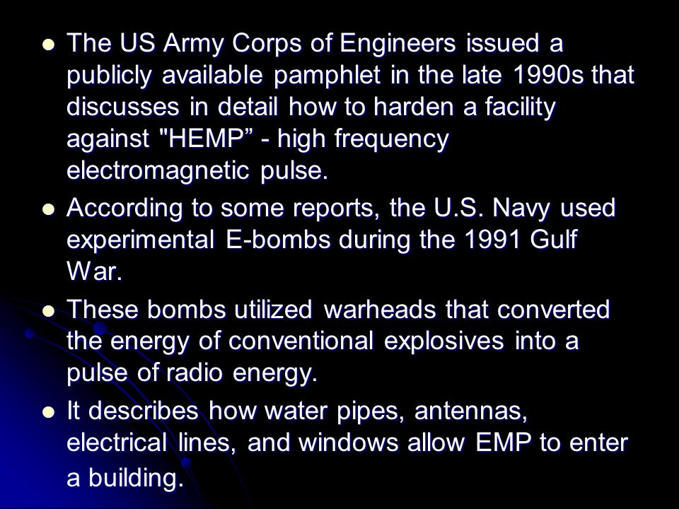 The US Army Corps of Engineers issued a publicly available pamphlet in the late 1990s that discusses in detail how to harden a facility against HEMP - high frequency electromagnetic pulse.