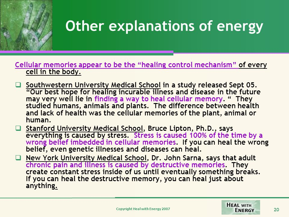 Other explanations of energy