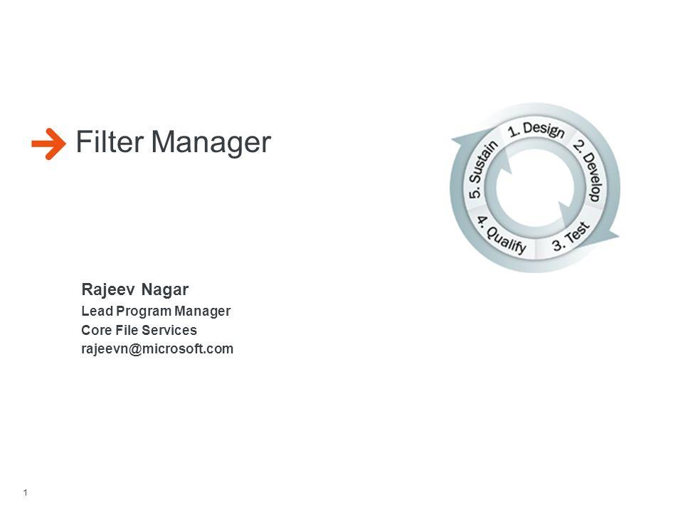 Filter Manager Rajeev Nagar Lead Program Manager Core File Services