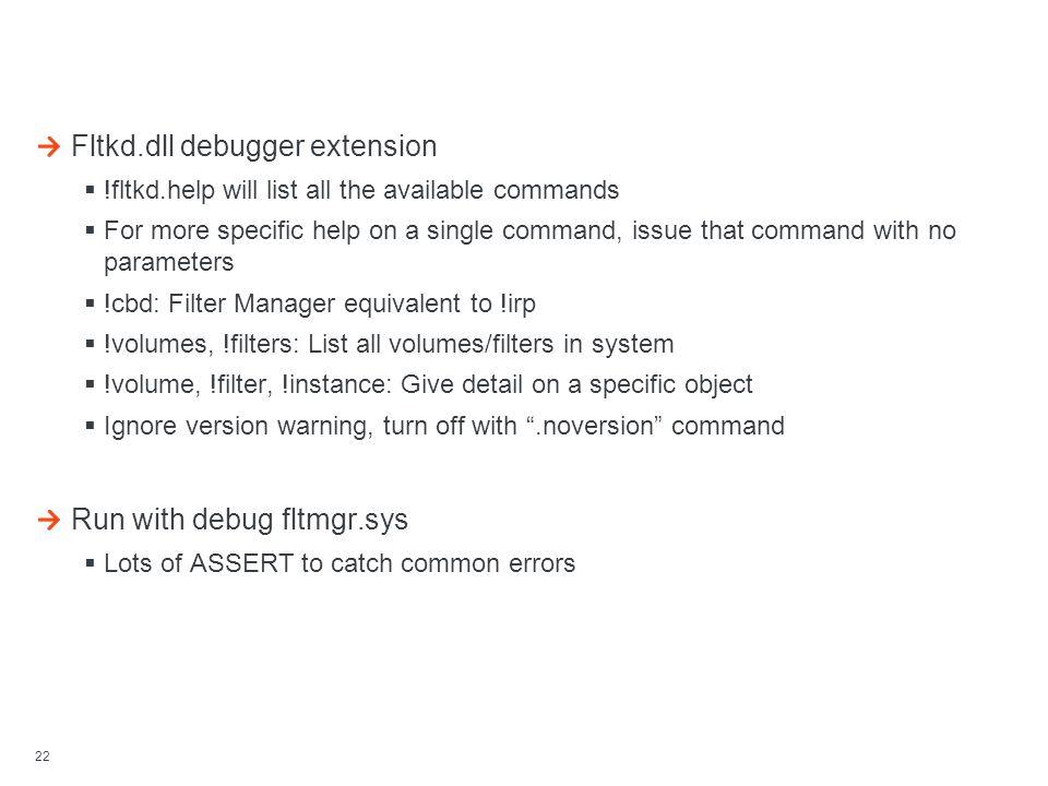 Debugging Resources Fltkd.dll debugger extension