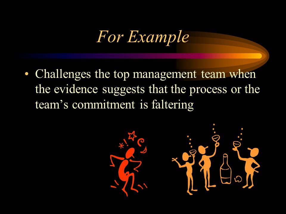 For Example Challenges the top management team when the evidence suggests that the process or the team's commitment is faltering.