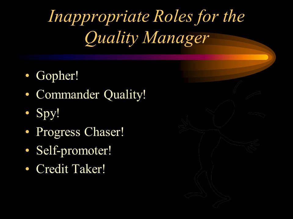 Inappropriate Roles for the Quality Manager