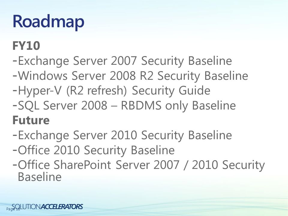 Roadmap FY10 Exchange Server 2007 Security Baseline