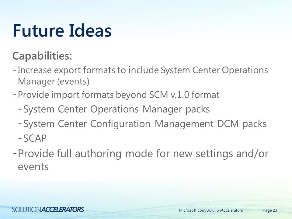 Future Ideas Capabilities:
