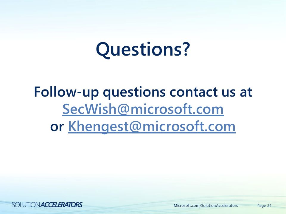 Questions Follow-up questions contact us at