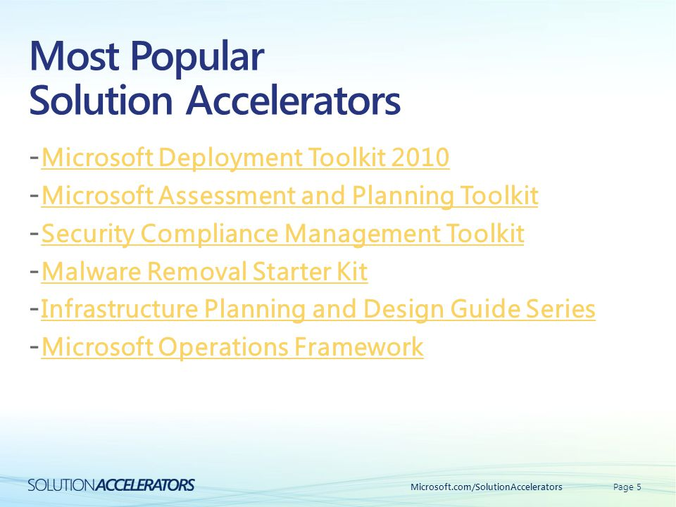 Most Popular Solution Accelerators