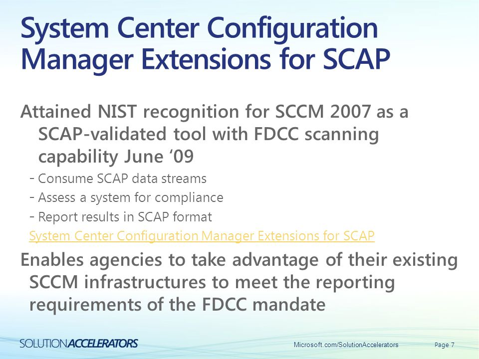 System Center Configuration Manager Extensions for SCAP