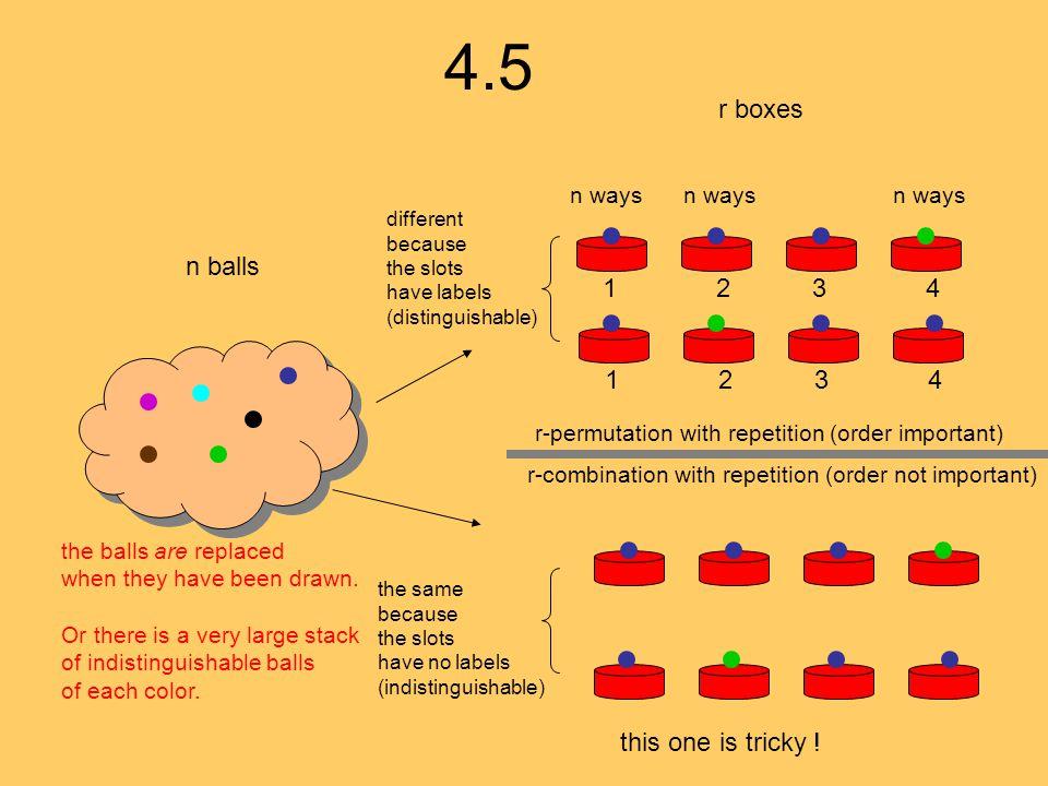 4.5 r boxes n balls 1 2 3 4 1 2 3 4 this one is tricky ! n ways n ways