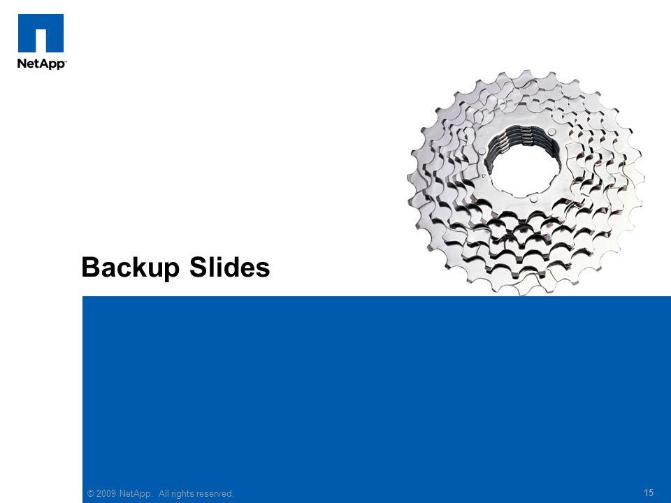 Backup Slides © 2009 NetApp. All rights reserved. 15