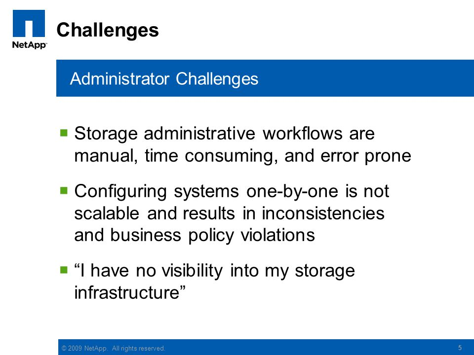 Challenges Administrator Challenges. Storage administrative workflows are manual, time consuming, and error prone.
