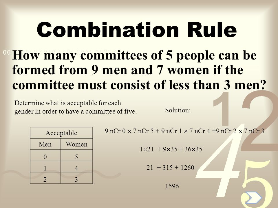 Combination Rule How many committees of 5 people can be