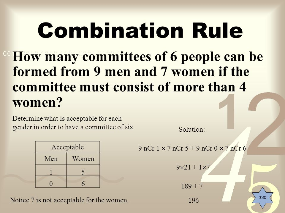 Combination Rule How many committees of 6 people can be