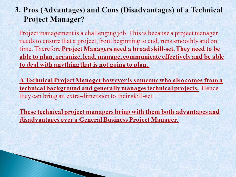 3. Pros (Advantages) and Cons (Disadvantages) of a Technical Project Manager
