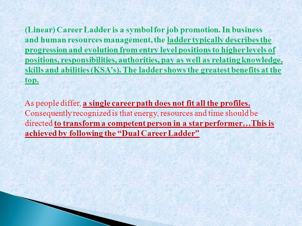 (Linear) Career Ladder is a symbol for job promotion