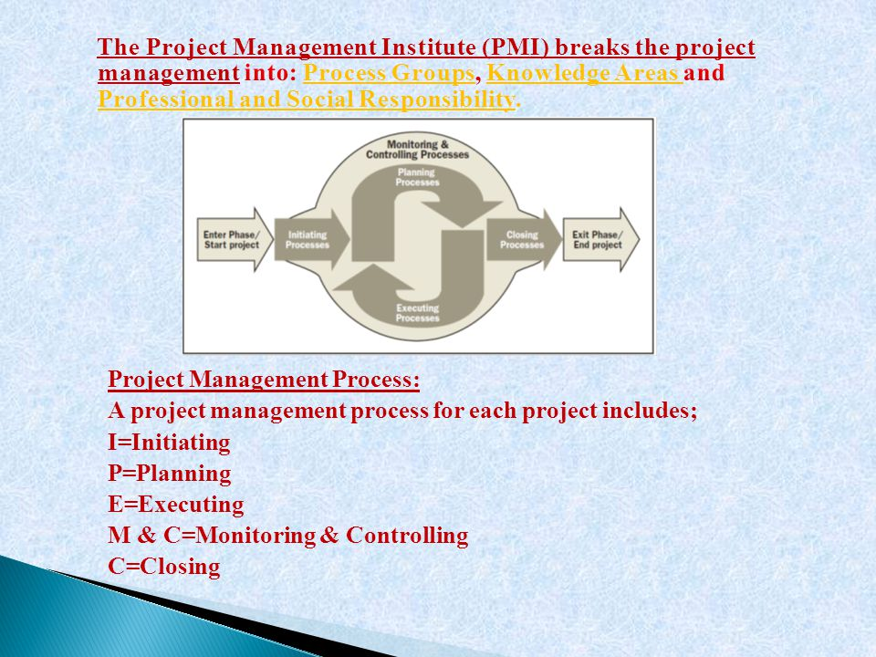 The Project Management Institute (PMI) breaks the project management into: Process Groups, Knowledge Areas and Professional and Social Responsibility.