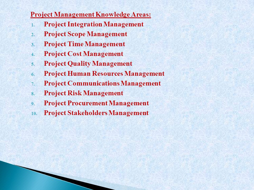 Project Management Knowledge Areas: