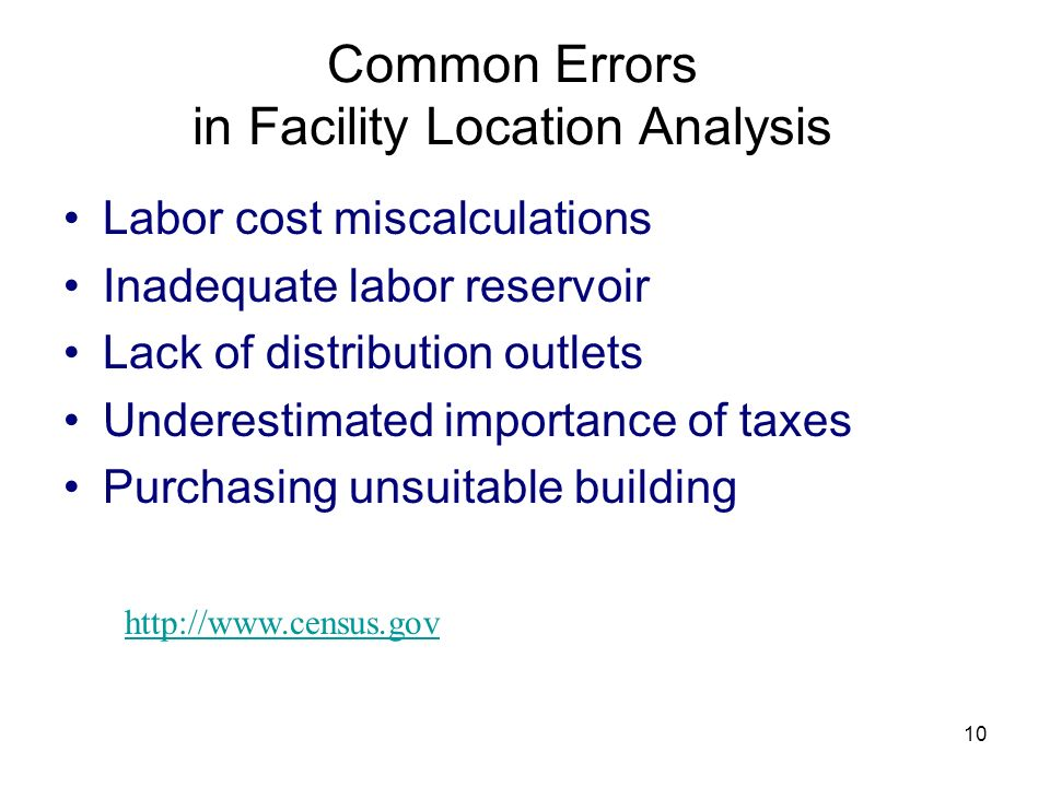 Common Errors in Facility Location Analysis
